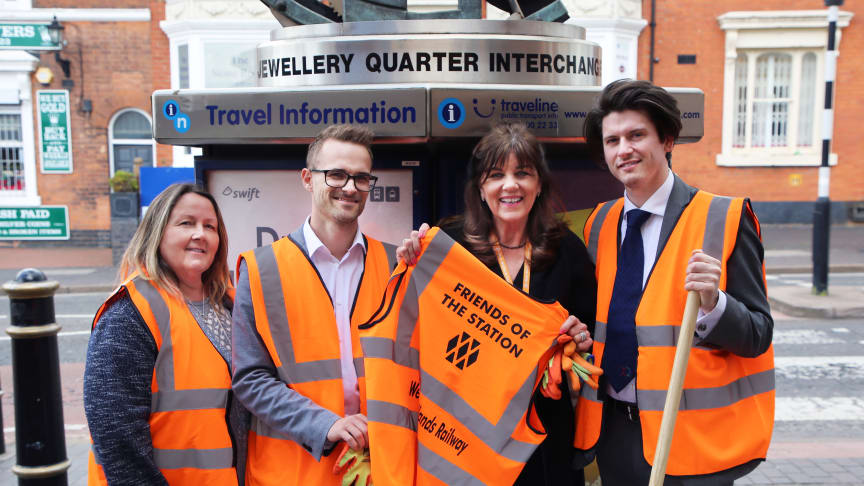 Left to right: Gaynor Steele (Owner, Gaynor Steele Garden Design) Steve Lovell (Communications and Marketing Manager, JQBID) Fay Easton (Head of Stakeholder and Community, West Midlands Railway) Luke Crane (Executive Director, JQBID)