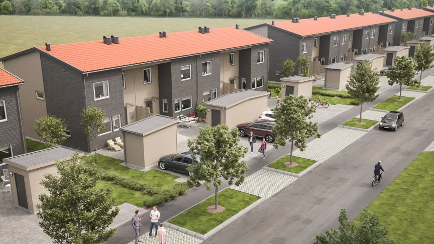 3D-illustration på hur husen i BoKlok Granen kommer att se ut