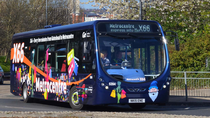The electric bus is being trialed on Go North East's popular X66 service - pictured here, an existing x66 vehicle