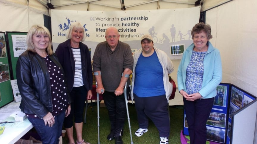 The team from Ley Hill Green Gym helping visitors to the festival learn about a healthy lifestyle