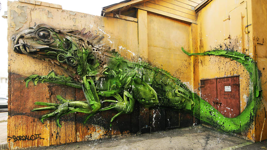 Big trash animals by Bordalo II part of No Limit Street Art