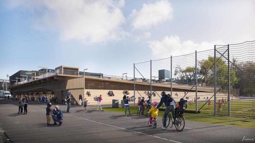 P-hus Heden är en tillfällig anläggning som rymmer cirka 750 parkeringsplatser, läktare, verksamhetslokaler och löparbana. Visionsbild: Kanozi Arkitekter