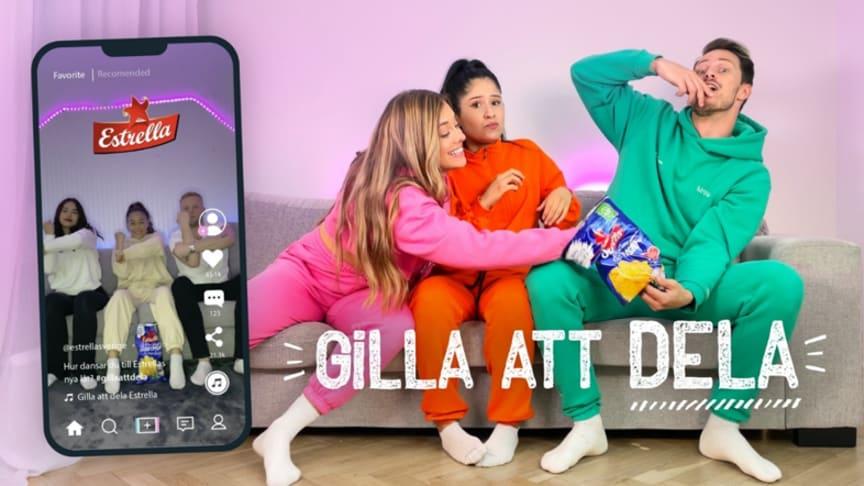Några av profilerna i Estrellas nya Gilla att dela-kampanj är dansduon Nino&Julia och Pimpiina, kända från bl.a. Tiktok