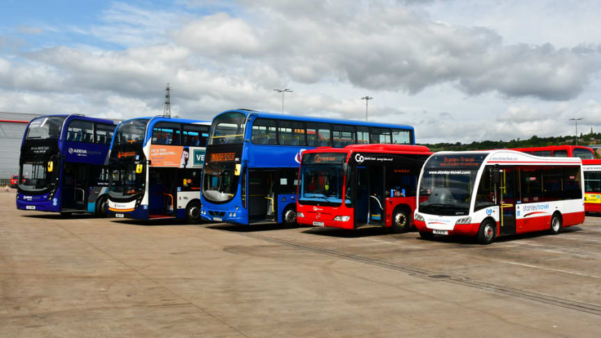 NEbus lineup including buses from Arriva North East, Stagecoach North East, L & G Coaches, Go North East and Stanley Travel