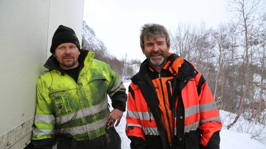 Thord och Björn på uppdrag tillsammans. «Ice Road Rescue» säsong 4 har premiär torsdag 3 oktober kl. 21.00 på National Geographic.(Foto: National Geographic)