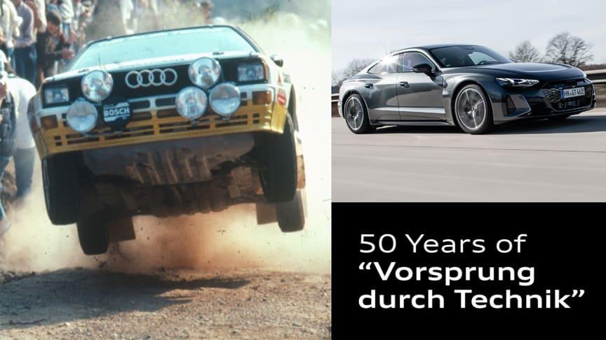 """Et slogan med historie: Audi markerer 50 år med """"Vorsprung durch Technik"""""""