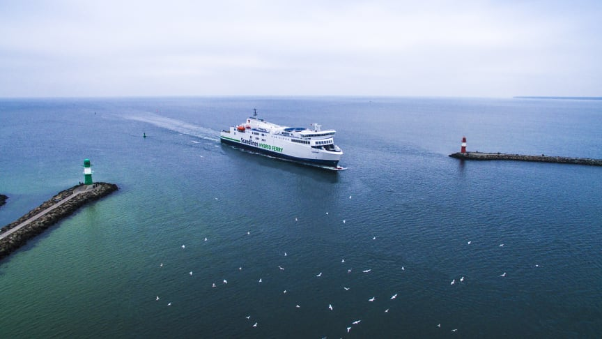 Scandlines' hybridfærge M/F Copenhagen sejler snart med vindkraftteknologi