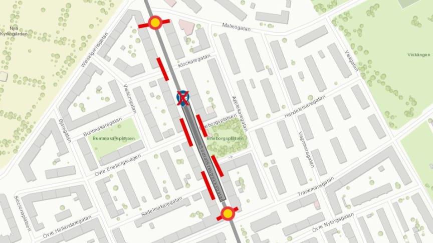 Vi bygger nya bullerskydd och lägger om ledningar – en del av Södra Stenbocksgatan avstängd från 8 januari