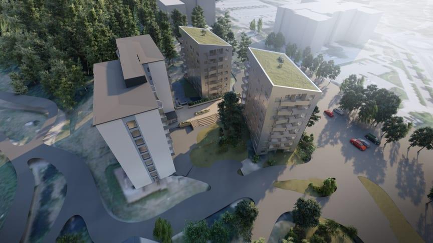 I Universitetsstaden, vid cykelbron Svingen, planeras 157 lägenheter. Visionsbild LINK Arkitektur