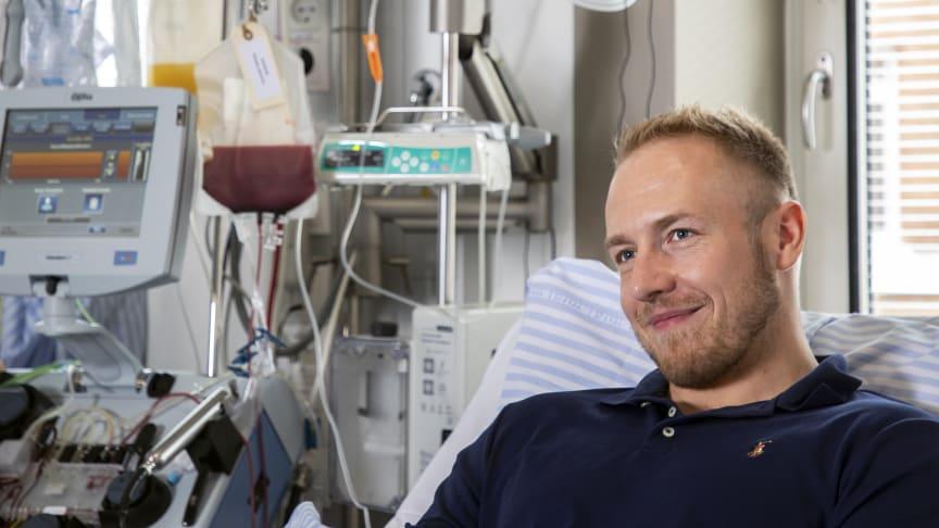 Emil Kaas Møller under sin stamcelledonation