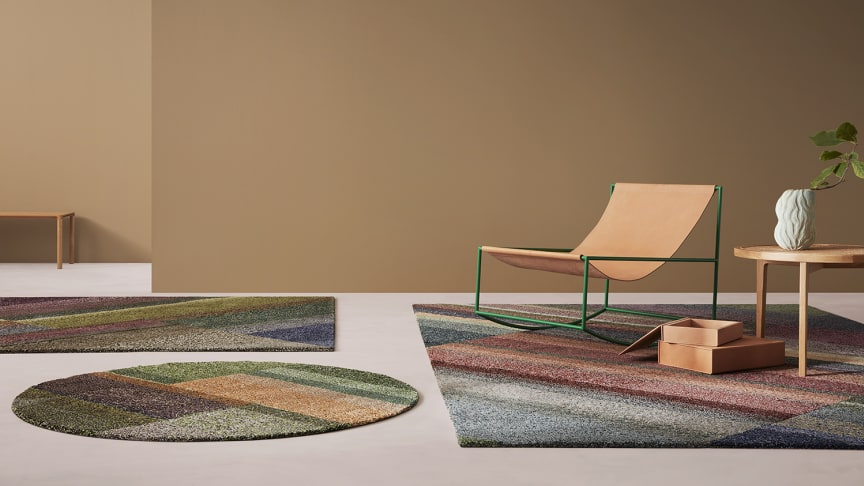 First out in the collection is Flourish, a hand-tufted wool rug made of residual yarn that brings to mind expansive geometric airfields and the color mosaics of open landscapes.