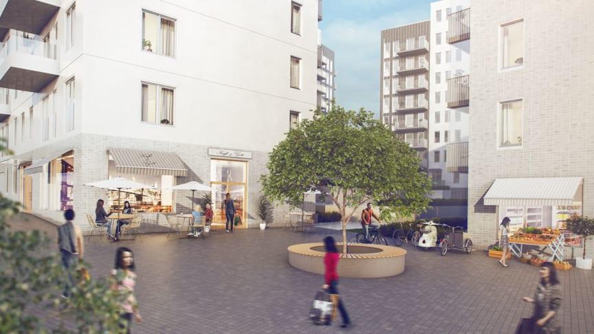 Kvarteret Stadshuslunden där Einar Mattsson bygger bostäder, där förskolan Piraten kommer att ha sin verksamhet.