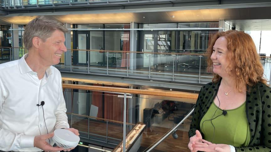 Stian Solberg, teknologidirektør for Ericsson i Norge og Ingeborg Øfsthus, teknologidirektør i Telenor Norge lover 5G-nett som vil drive digitaliseringen i Norge.