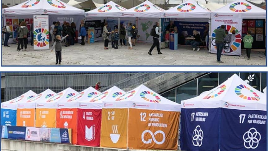 GROHE opstiller en pavillon i Rådhushaven for at formidle FN's verdensmål ud til folket.