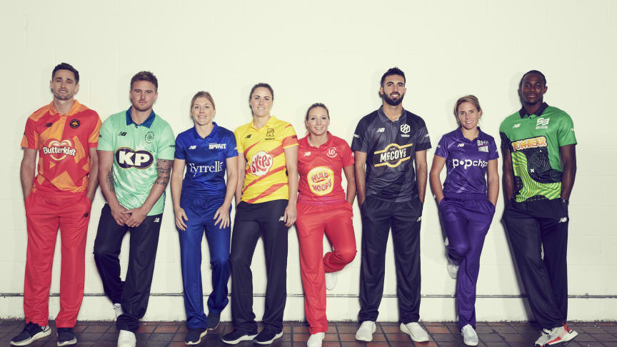 (L-R) Chris Woakes, Jason Roy, Heather Knight, Nat Sciver, Katie George, Saqib Mahmood, Lauren Winfield and Jofra Archer will represent the eight men's and women's teams in The Hundred