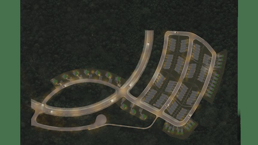 Illustrerad nattbild över Titanias område