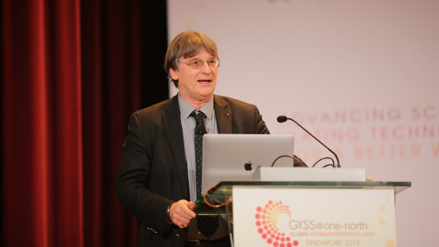 Professor Pierre-Louis Lions delivering his lecture at the Global Young Scientists Summit 2019. Photo Credit: National Research Foundation Singapore