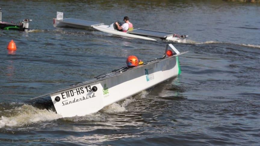 Nach einem Jahr Corona–bedingter Pause starten dieses Jahr am 04. September wieder Boote bei der 6. Wildauer Solarbootregatta mit internationalem Starterfeld auf der Dahme. (Bild: TH Wildau)