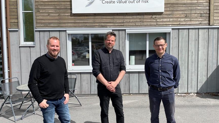 Från vänster: Andreas Wallström Presto, Robert Holmström RH Brandkonsult, Gustav Paringer Presto