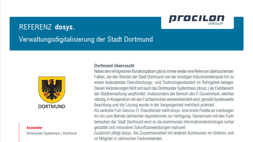 procilon Referenz dosys. Verwaltungsdigitalisierung der Stadt Dortmund