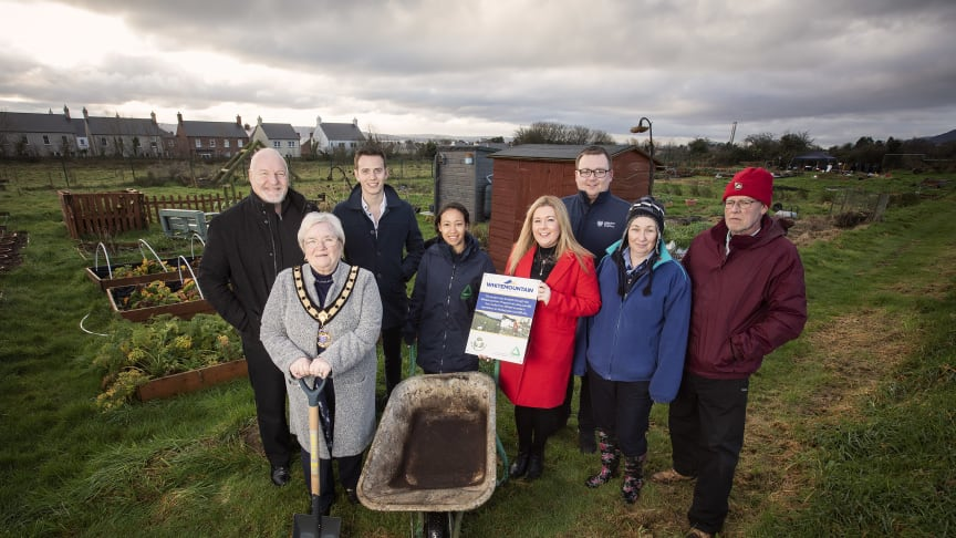 David Hilditch MLA (back left); Cllr Beth Adger, Deputy Mayor; Cllr Peter Johnston; Angelica Florez, Groundwork NI; Niamh-Anne McNally; Cllr Mark Collins, Dawn Hart, Greenisland Youth Group; Adrian Johnston, Chairman Greenisland Allotment Association