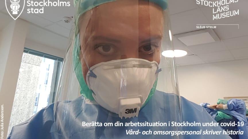 Intensivvårdssjuksköterska vid Huddinge sjukhus under covid-19pandemin i Stockholm. Foto: Julia Andersson.