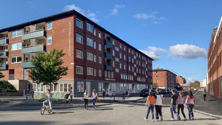 Communityskolan i Tynnered, Göteborg, öppnar hösten 2021. Bild: White Arkitekter