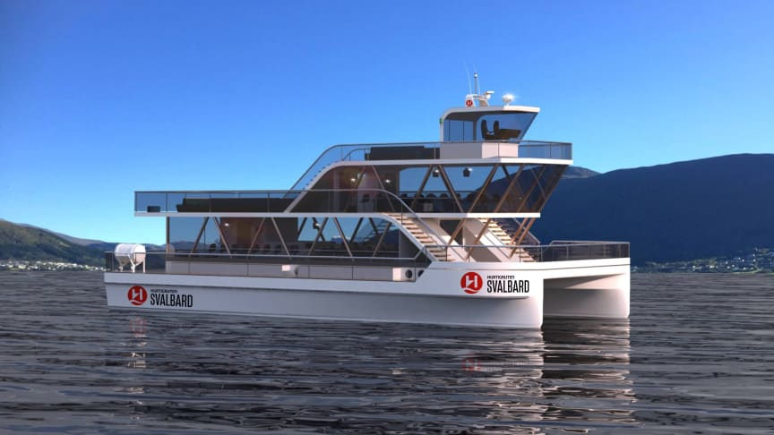 BATTERY POWERED: This is the first rendering showing Hurtigruten and Brim Explorer's groundbreaking electric explorer catamaran MS Bard. From 2020 she will operate eco-friendly short voyages on Svalbard. Photo: HURTIGRUTEN