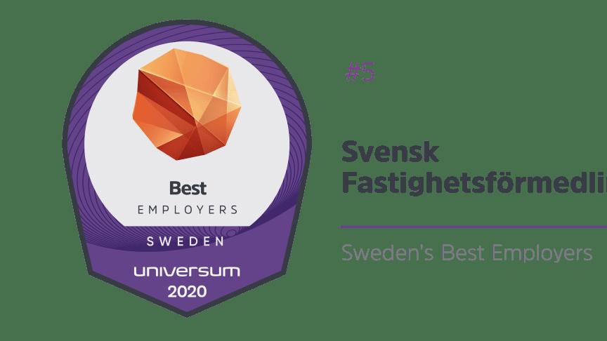 Svensk Fastighetsförmedling i topp när Sveriges bästa arbetsgivare rankas