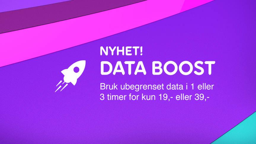 Årets første mobilnyhet: Med Data Boost kan kunder surfe ubegrenset i én eller tre timer til en pris på henholdsvis 19kr eller 39kr.