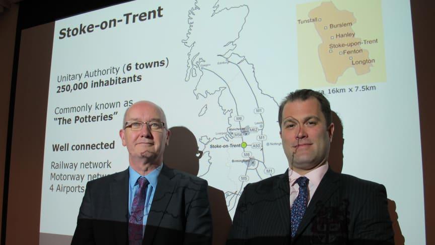 Andrew Briggs och Sébastien Danneels från City of Stoke-on-Trent på besök i Sverige.