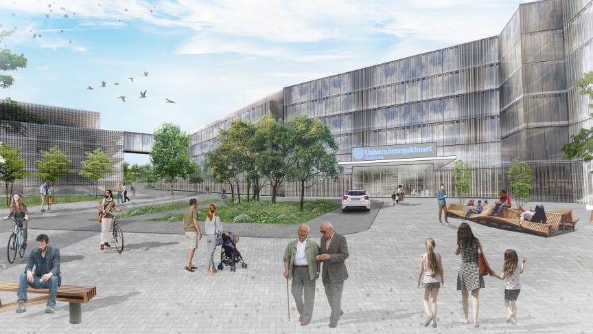Den föreslagna nya södra entrén till Linköpings Universitetssjukhus Bild: Carlstedt Arkitekter