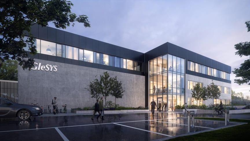 GleSYS nya klimatsmarta datacenter i Falkenberg. Illustration: Visulent