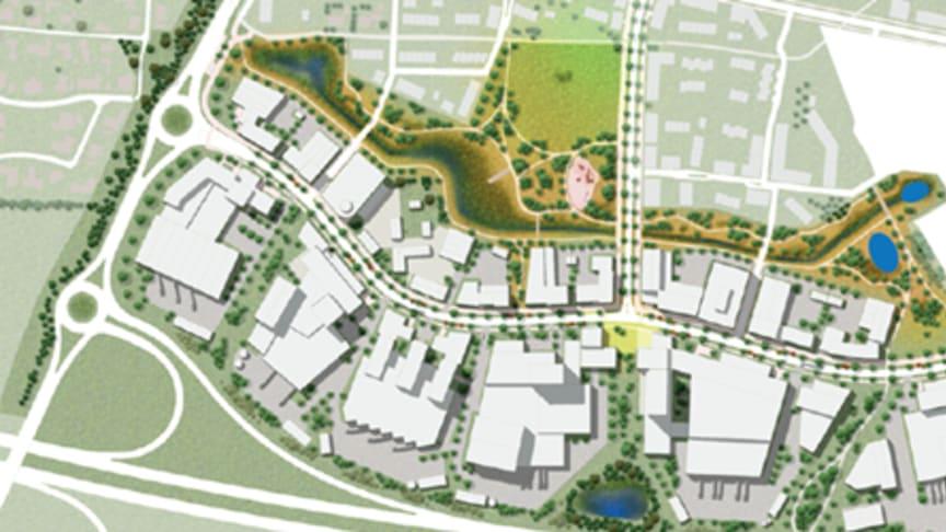 Verksamhetsområdet Fortuna Hemgården kommer att utvecklas i två etapper och omfattar två detaljplaner. Ca 2 000-2 500 arbetstillfällen.