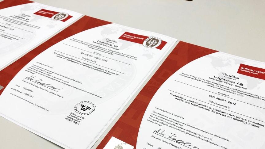 Logiwaste ISO-certifikat