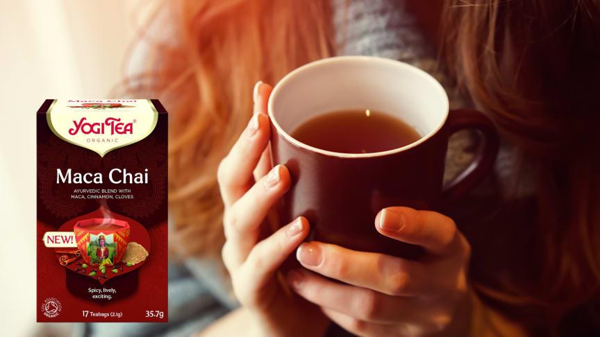 Mausteinen ja lämmittävä Yogi Tea Maca Chai syksyn pimeneviin iltoihin