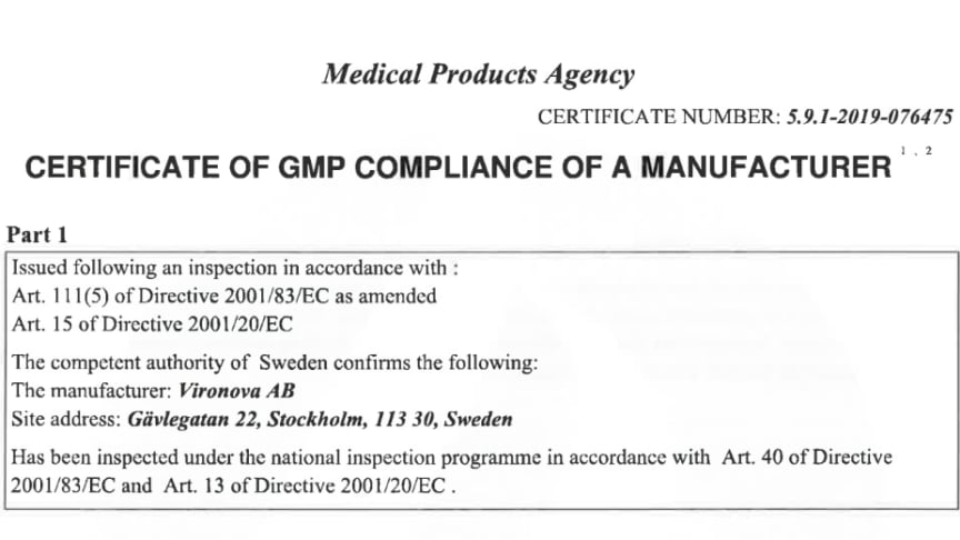 Vironova - Certificate of GMP compliance of a manufacturer from the Swedish Medical Products Agency (Läkemedelsverket)