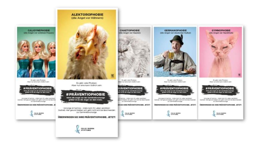Darmkrebsmonat März 2021: Flyer und Plakate im Look der Werbekampagne #Präventiophobie