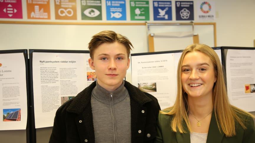 """""""Alla frågor vi tog upp i våras fick vi svar på nu, så vi ser att politikerna är engagerade"""", säger Wilma Widén och Hugo Lindman Lindqvist från Pilängskolan.."""