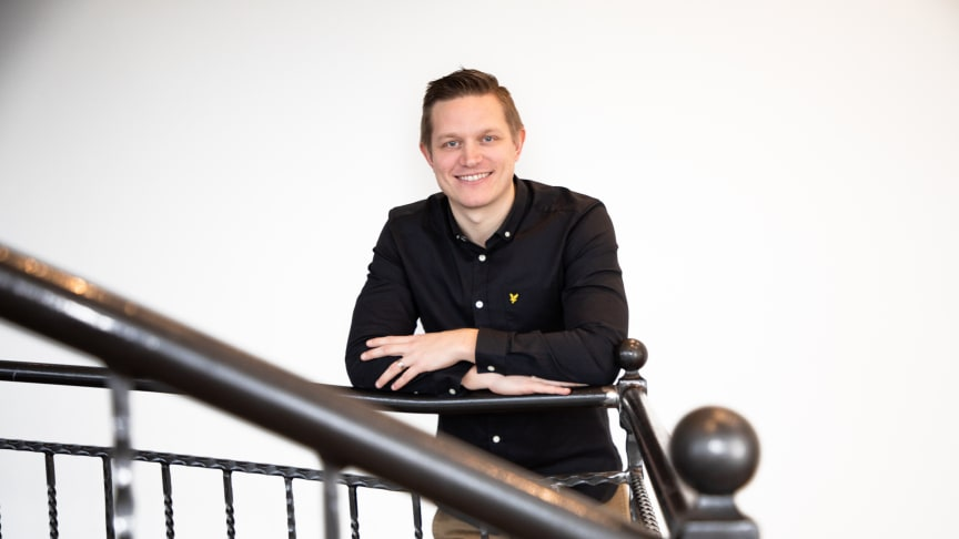 Eric på Advisorys huvudkontor i Växjö (Foto MLI-Foto)