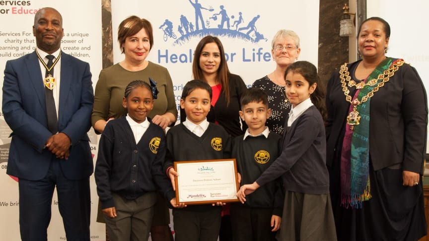 Students from Thornton Primary School receiving their Health for Life award