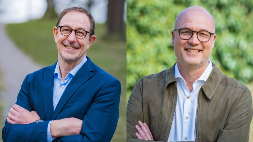 Maths Lundgren, programledare för Det strategiska ledarskapet och Gunnar Westling, rektor för Kommunala företagens ledarskapsakademi. Foto: Fredrik Berglund.