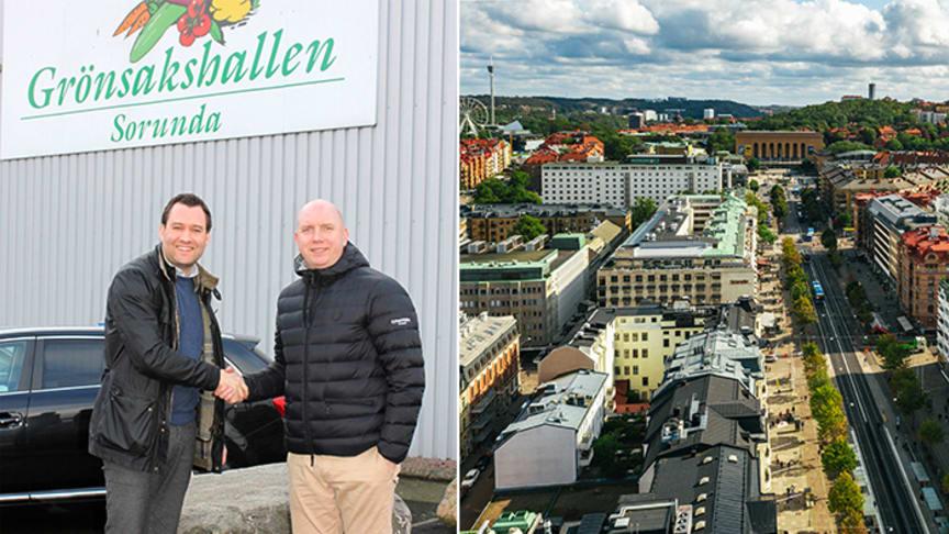 Fredrik Allywood från Martin & Servera Restauranghandel hälsas välkommen av Anders Andersson, Grönsakshallen Sorunda