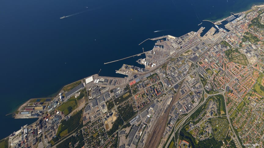 The Port of Helsingborg frome above. Photo: Bertil Hagberg