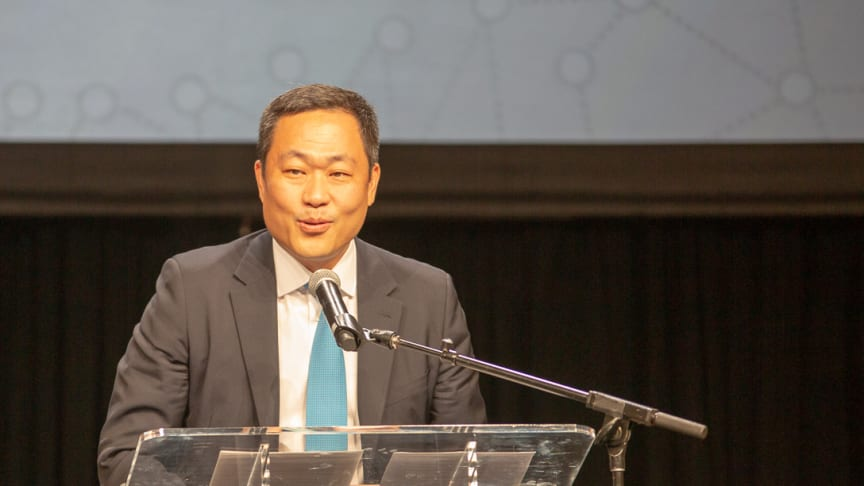 Eric Sung, CEO of Intellian, received the Satellite Technology of the Year Award today
