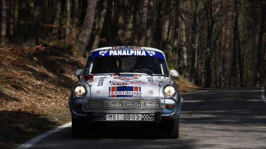 A formerly Panalpina sponsored Škoda built in 1967 taking part in this year's Škoda 1000 MB rally. (Photo: Škoda Auto. All rights reserved.)