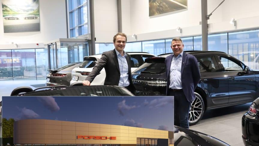 Hedin skal ta kundeopplevelsen til et nytt nivå når de åpner det 1 800 kvm store Porsche-senteret i Sørlandsparken i Kristiansand; f.v. Stig Sæveland, adm. dir Hedin Automotive og Terje Fjogstad, daglig leder i Porsche Center Sør og Stavanger