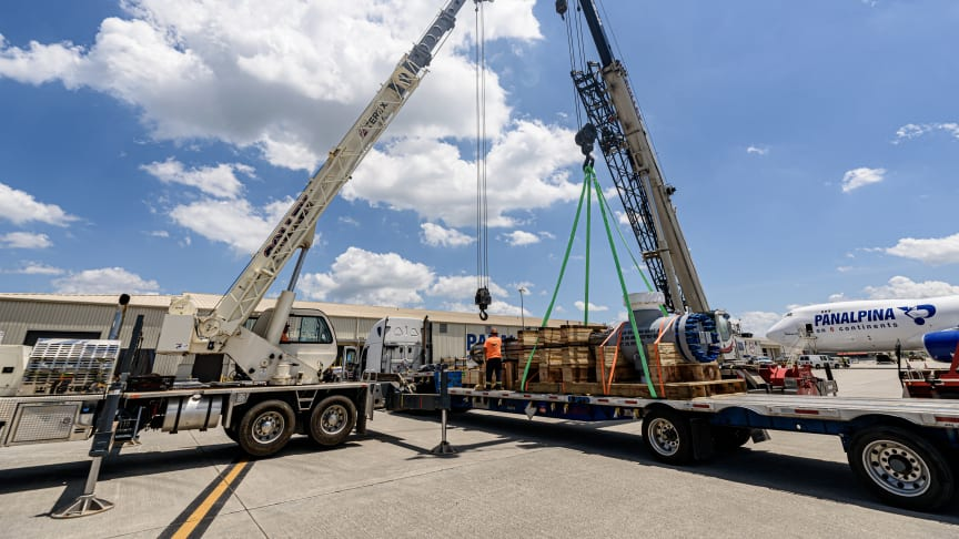 Huntsville, Alabama, USA: A heat exchanger is prepared for loading onto Panalpina's 747-8F. (Photo: Panalpina)