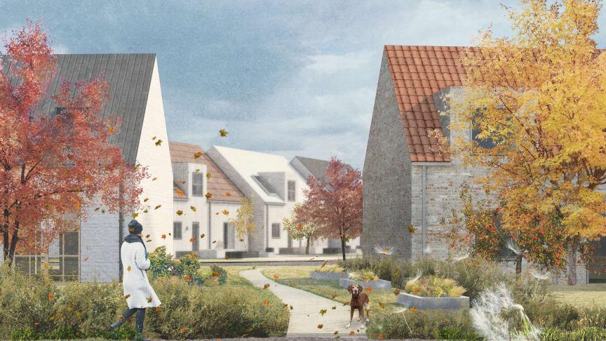 Så här skulle det nya bostadsområdet kunna se ut. Illustration: Cormac Fastighetsförvaltning