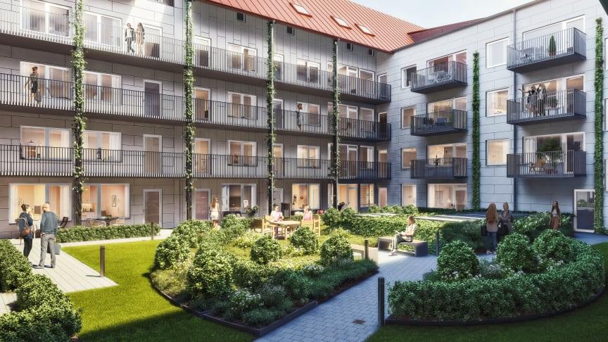Den gemensamma innergården förbinder hyresrätter med bostadsrätter.
